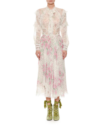 Long-Sleeve Button-Front Floral-Print Ankle-Length Dress