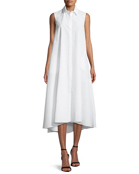 Loro Piana Gayle Luxury Cotton/Silk Sleeveless Shirtdress