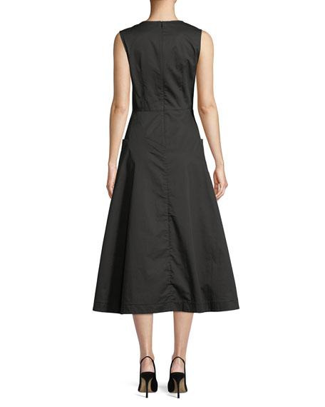 V-Neck Sleeveless Side-Pockets Cotton Poplin Dress