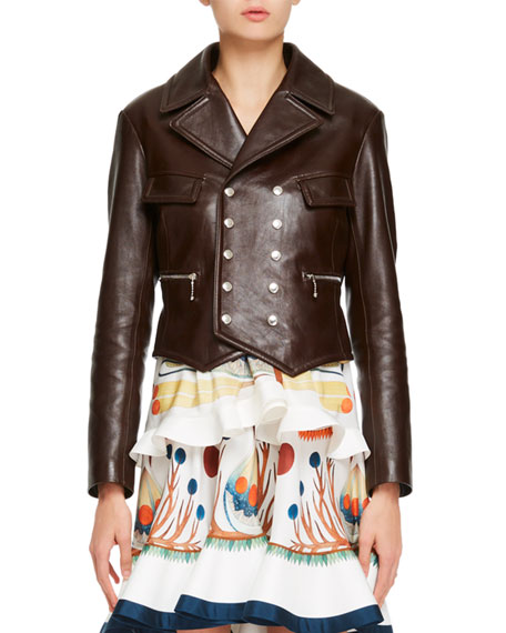 Chloe Classic Double-Breasted Leather Jacket