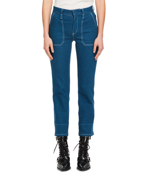 Straight-Leg Patch-Pocket Stretch-Denim Ankle Pants