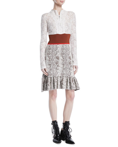 Chloe Python Jacquard Knit and Lace Long-Sleeve Dress