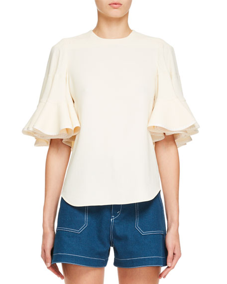 Bell-Sleeve Light Cady Crepe Blouse