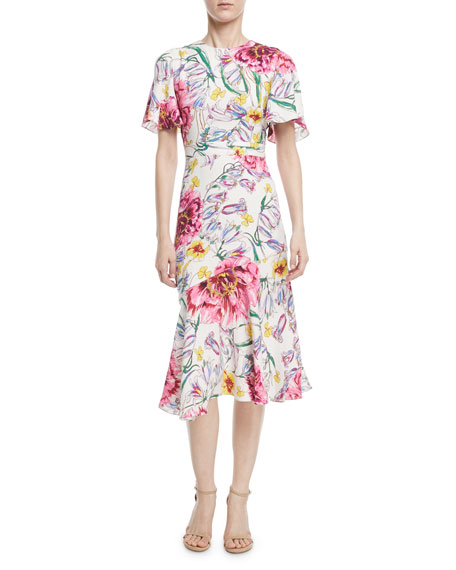 Round-Neck Short-Sleeve Floral-Print Dress