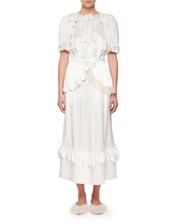 b36b3714cd0811 Simone Rocha Ruffled Silk Midi Dress