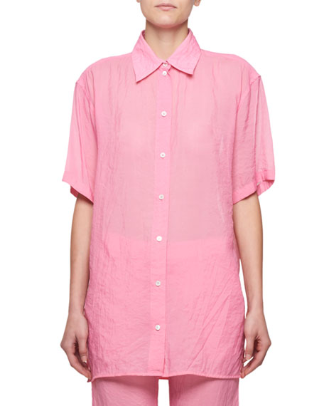 Short-Sleeve Button-Front Tech Muslin Shirt