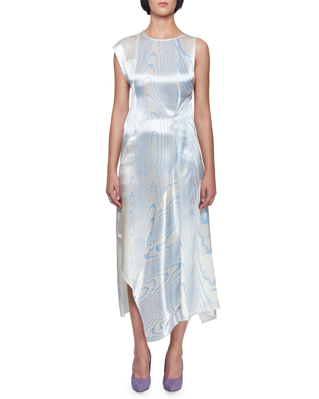 Asymmetric Drape Dress: Victoria Beckham Sleeveless Satin Moiré Print Asymmetric