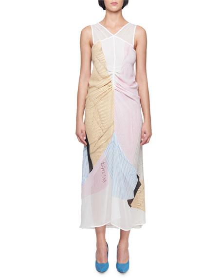 V-Neck Sleeveless Gathered Striped Midi Dress