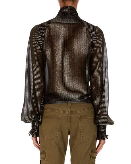 Long-Sleeve Stand-Collar Metallic Striped Blouse w/ Frills
