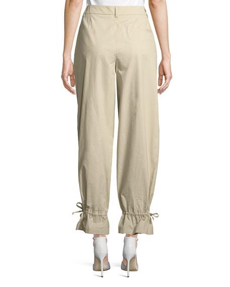 Flounce-Hem Tapered Cotton-Stretch Pants