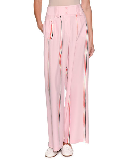 Wide-Leg Silk Trousers with Sport-Stripe Trim
