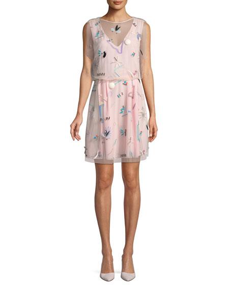 Sleeveless Embellished Silk Dress