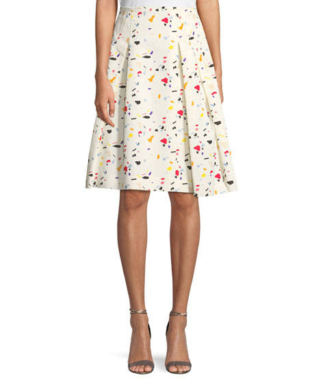 Carolina Herrera Terrazzo-Print A-Line Cotton Faille Party Skirt