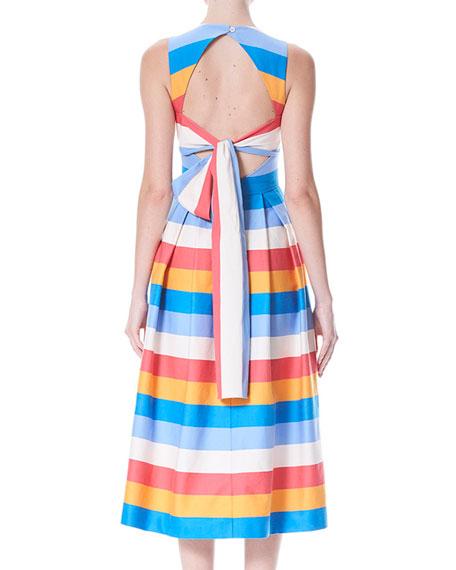 Back-Bow Tie Sleeveless Multi-Stripe A-Line Dress