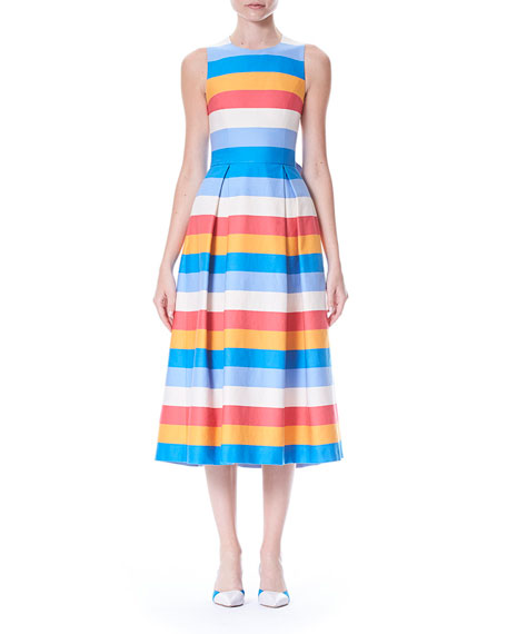 Carolina Herrera Back-Bow Tie Sleeveless Multi-Stripe A-Line