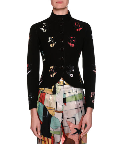 Neoprene Button-Front Jacket with Laser-Cut Floral Details