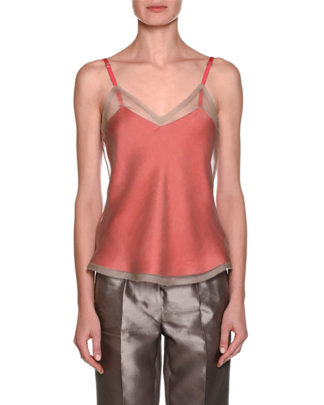 Geranium Camisole Tank with Sheer Overlay