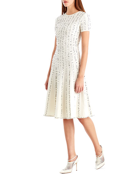 Crewneck Short-Sleeve Printed A-Line Midi Dress