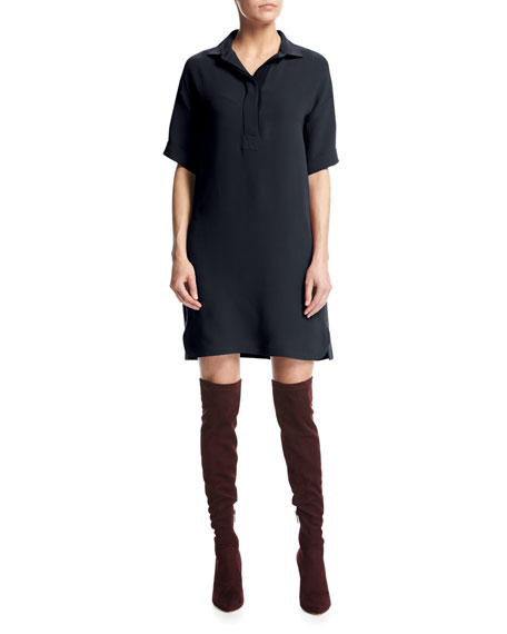 Loro Piana Bess Short-Sleeve Silk Shirtdress