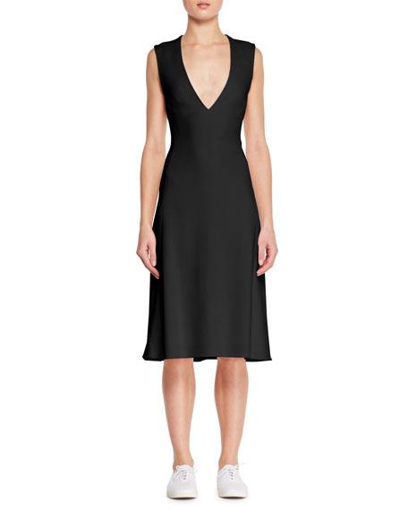 Viky Sleeveless V-Neck Fit-and-Flare Stretch-Cady Dress