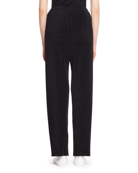 Image 2 of 2: THE ROW Ocap Drawstring Straight-Leg Plisse Voile Pants