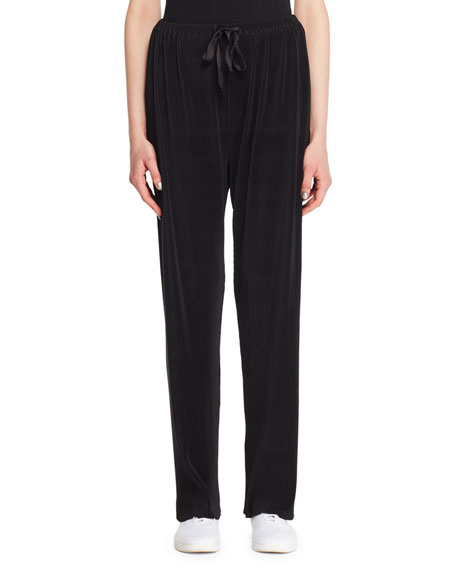 Image 1 of 2: THE ROW Ocap Drawstring Straight-Leg Plisse Voile Pants