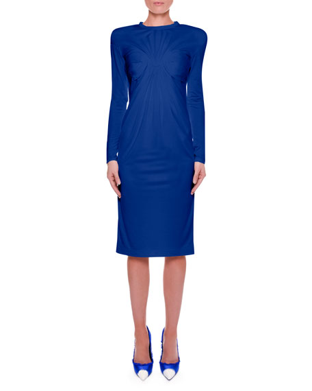 Hand-Pleated Bust Sheath Dress with Strong Shoulders
