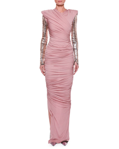 Ruched Bodice Gown with Beaded Sleeves