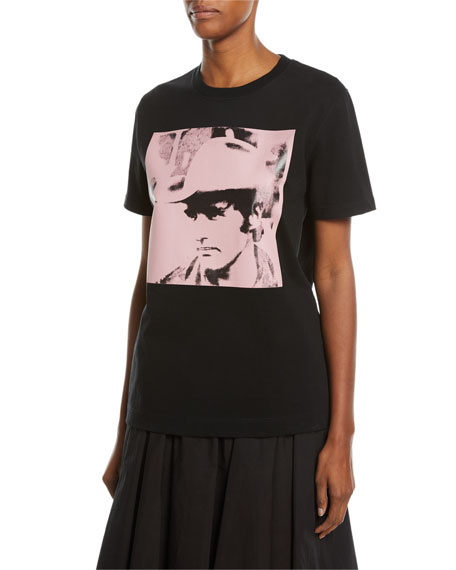 Dennis Hopper Short-Sleeve Round-Neck Oversized T-Shirt, Black/Pink