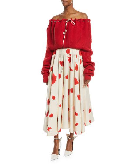 Silk Shantung Printed Flared Skirt