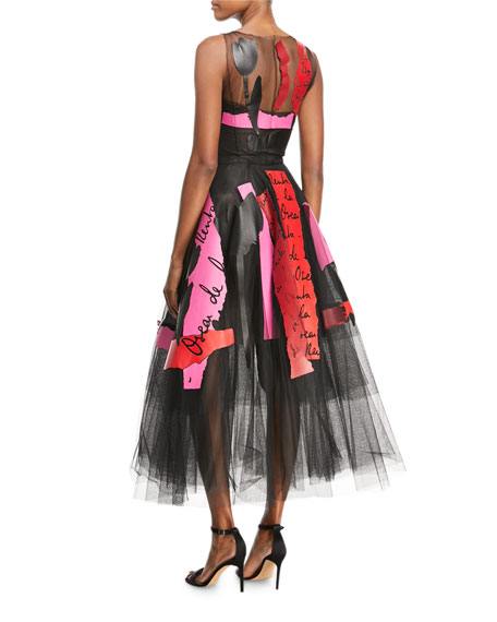 Embroidered Leather and Tulle Cocktail Dress