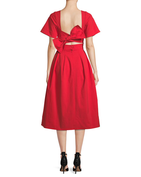 Back-Bow V-Neck Short-Sleeve Lace-Guipure Midi Dress