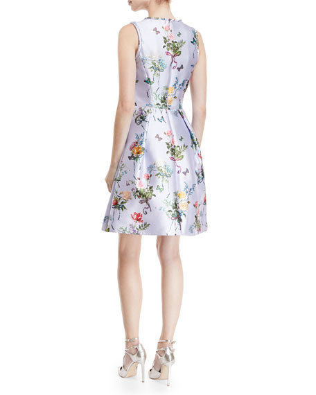 Jewel-Neck Sleeveless Botanical-Print Fit-and-Flare Structured Dress