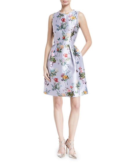 MONIQUE LHUILLIER Jewel-Neck Sleeveless Botanical-Print Fit-And-Flare Structured Dress in Lavender