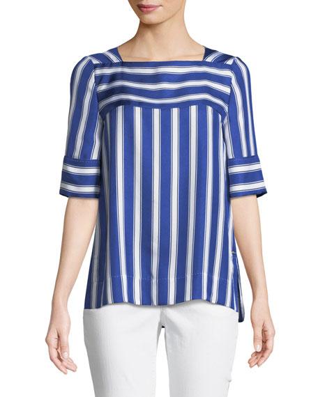 Short-Sleeve Cabana-Striped Silk Blouse