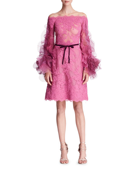 Off-the-Shoulder Organza-Sleeves Corded Lace Cocktail Dress