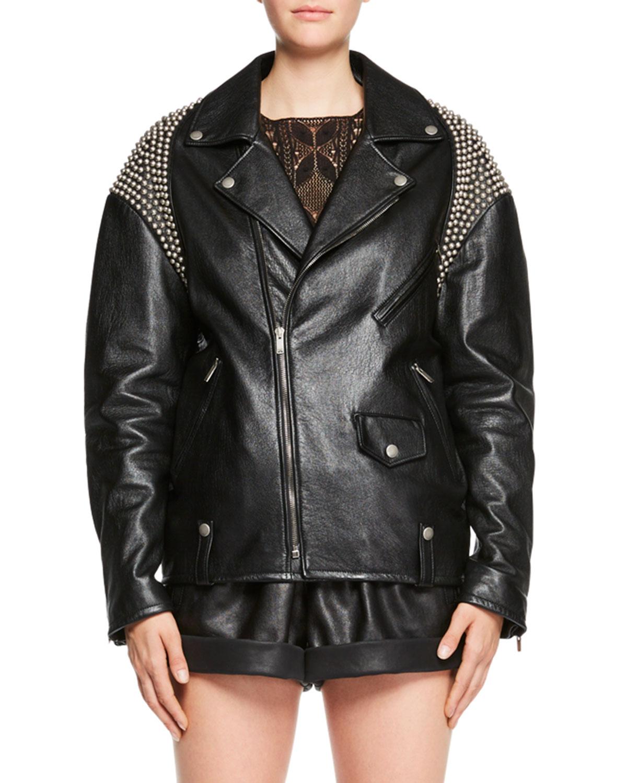 8eef3ff38 Zip-Front Oversized Moto Leather Jacket with Shoulder Studs