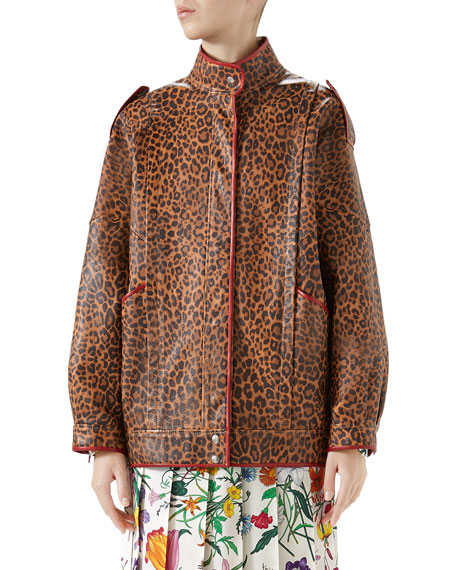 Gucci Leopard-Print Leather Jacket w/ Spiritismo on Back