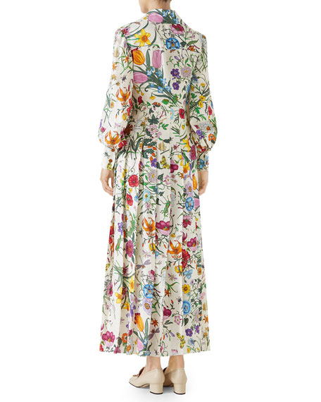 Long-Sleeve Floral-Print Silk Pleated Maxi Dress