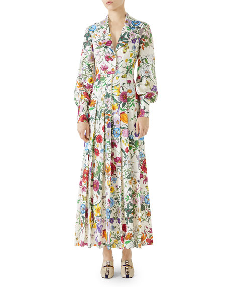 Gucci Long-Sleeve Floral-Print Silk Pleated Maxi Dress