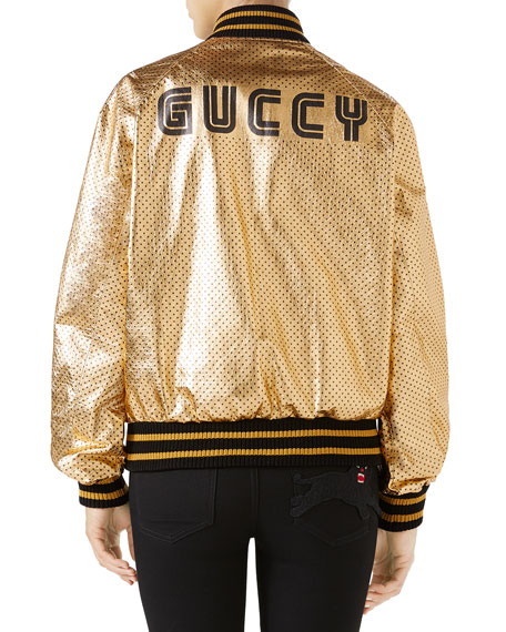 Guccy-Print SEGA® Leather Bomber Jacket