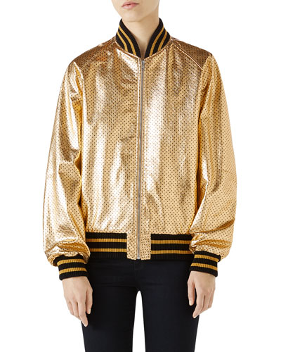 Guccy-Print SEGA® Leather Bomber Jacket
