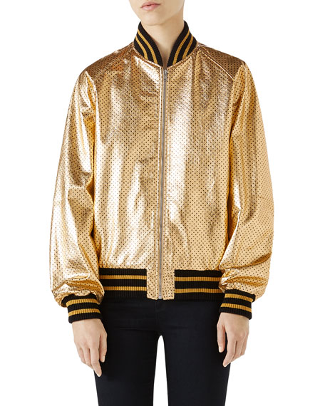 Guccy-Print Sega&Reg; Leather Bomber Jacket, Gold Leather