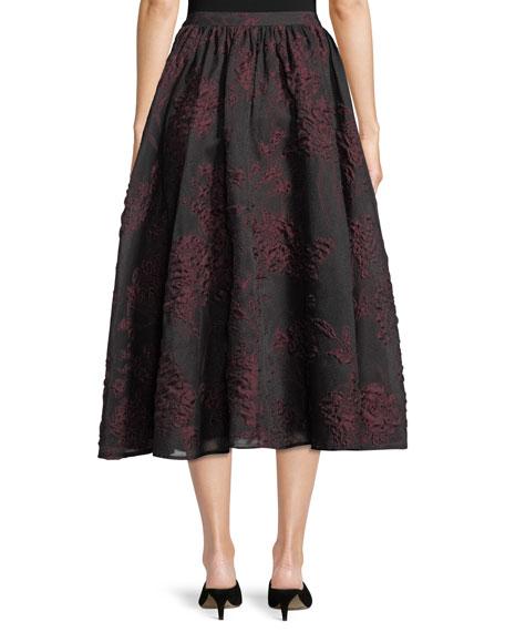 Floral-Jacquard A-Line Midi Skirt