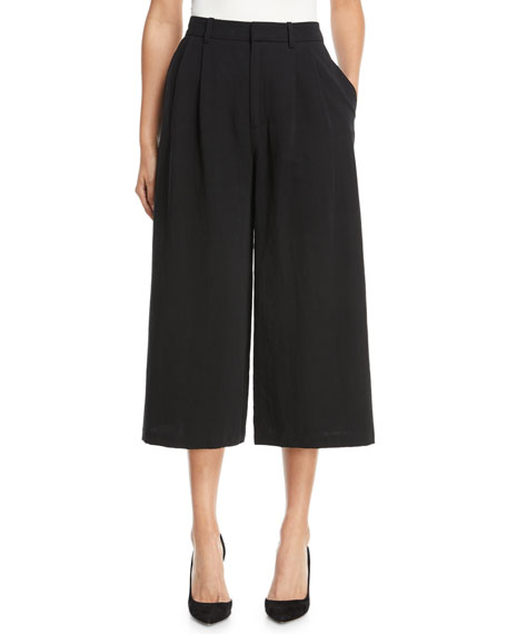 2-Pleat Wide-Leg Cotton-Blend Culotte Pants