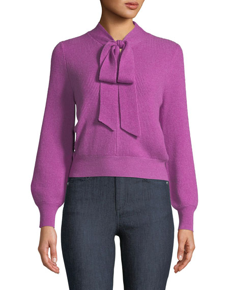 V-Neck Tie-Collar Ribbed Wool-Cashmere Pullover Sweater