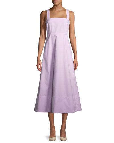 Sleeveless Flared Cotton Midi Dress