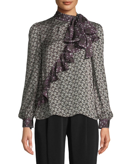 Co Tie-Neck Asymmetric Ruffle Floral-Print Crepe Silk Blouse
