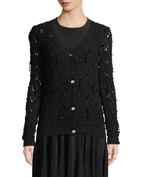 Bead-Embellished Hand-Knit Crochet Wool-Cashmere Cardigan