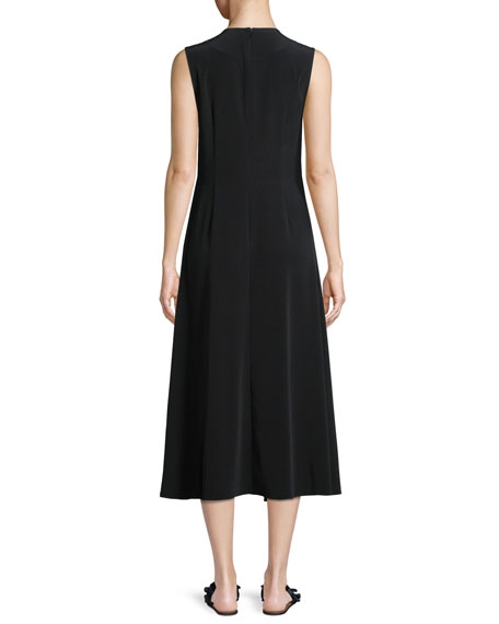 Sleeveless Gathered Tacked-Waist Crepe Dress